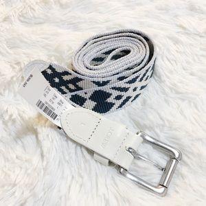 J. Crew Belt Ikat Print Leather Tabs WHITE szL NWT